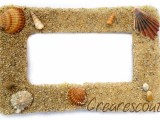 beach style photo frame with shells