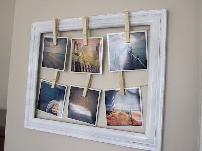 picture frame into a beach frame (via pearlsandmasonjars)