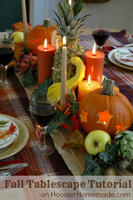 vegetables and fruit tablescape (via hoosierhomemade)