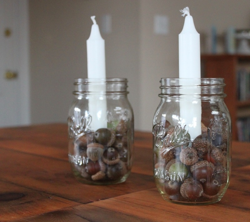 acorns and candle centerpiece