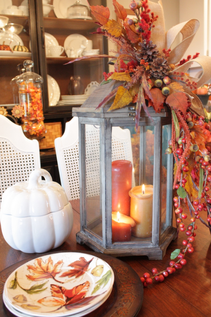 Picture of fall lantern centerpiece