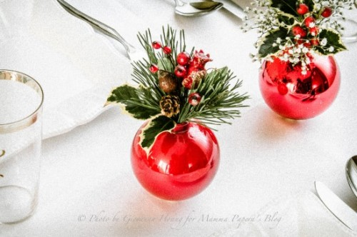 evergreen plants and Christmas ornaments centerpieces