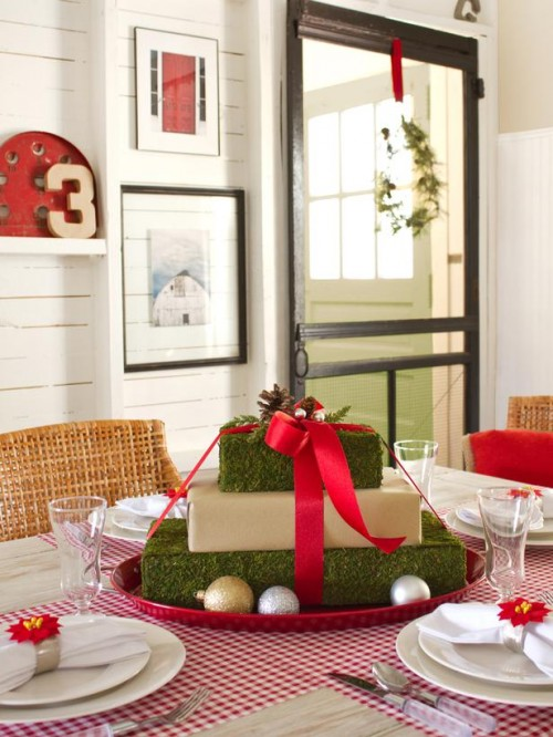 gift box centerpiece (via hgtv)