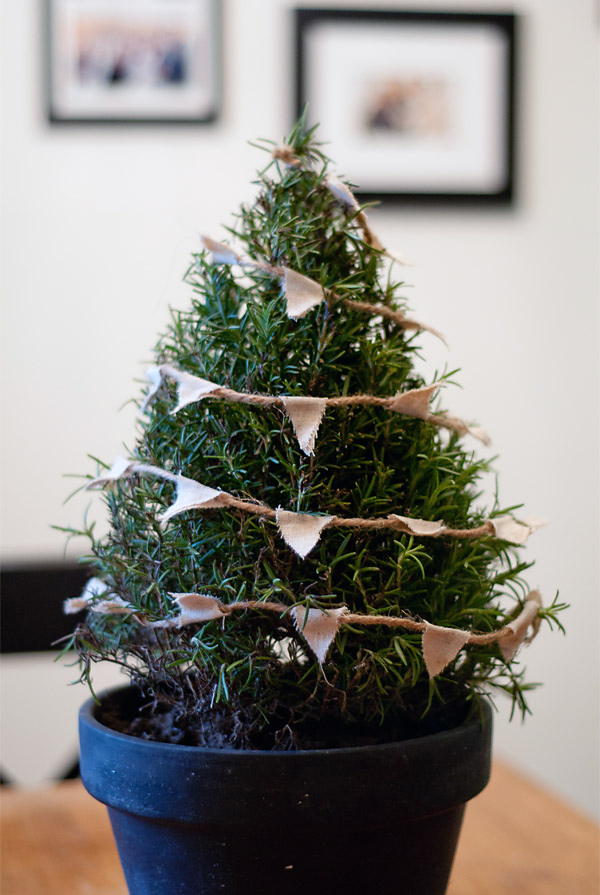 Christmas tree with bunting centerpiece
