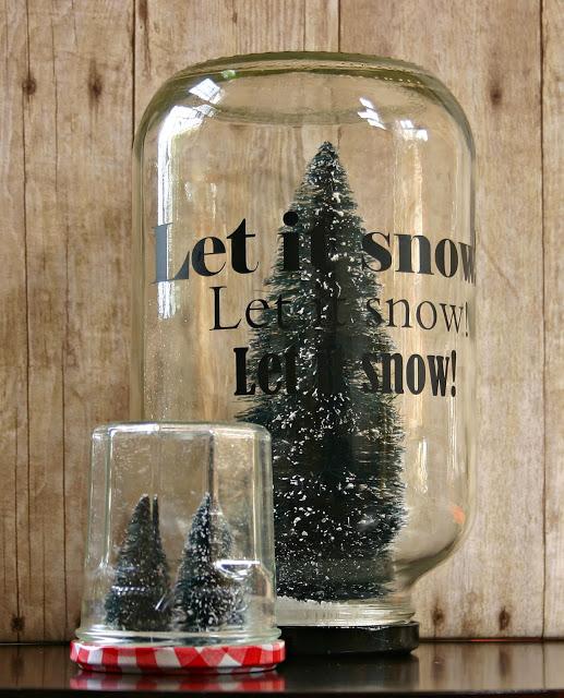 bottle brush snow globe centerpiece