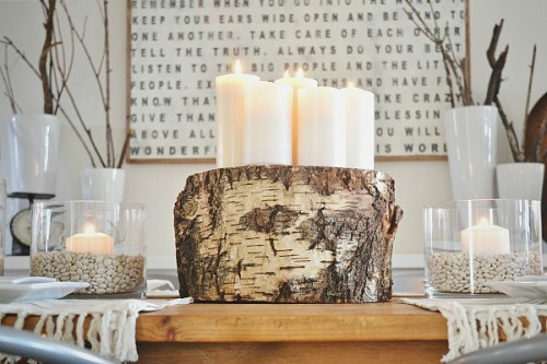 tree stump centerpiece (via lizmarieblog)