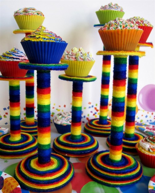 rainbow cupcake stand (via shelterness)