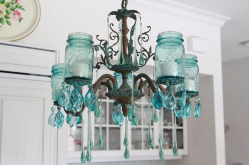 Absolutely Gorgeous DIY Aqua Chandelier