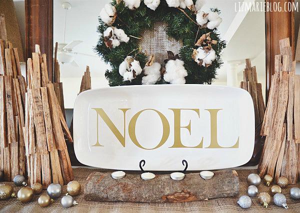 log Christmas candleholder