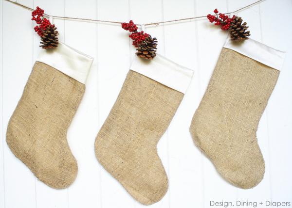 simple burlap Christmas stockings