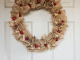 burlap holiday wreath