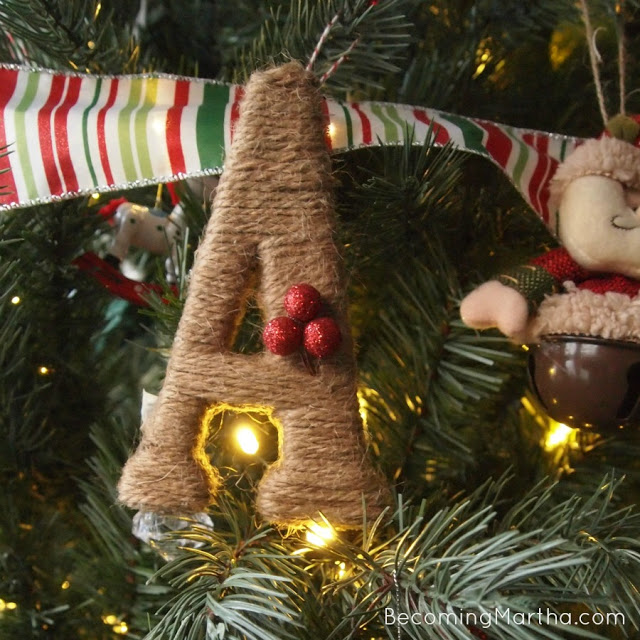 twine wrapped monogram ornaments