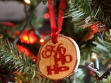 wood glitter ornaments