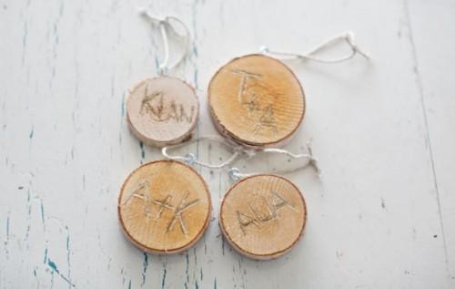 rustic wood slice ornaments