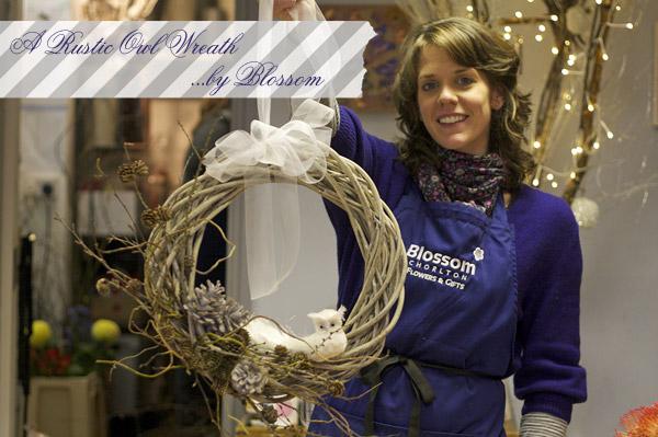 rustic owl Christmas wreath
