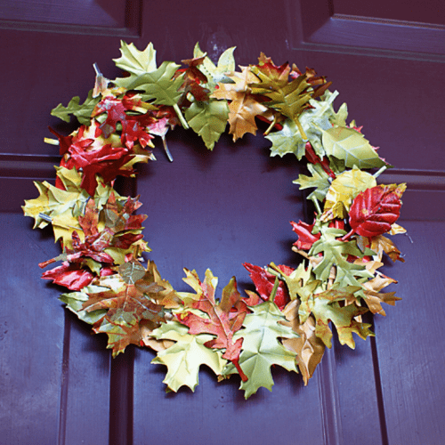 tin fall leaves wreath (via shelterness)