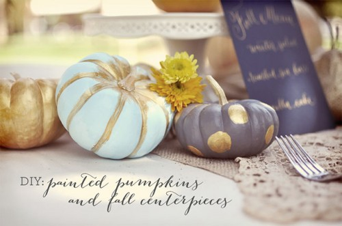 cool painted pumpkins centerpiece (via greenweddingshoes)
