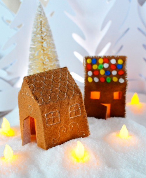 felt gingerbread house candle holder