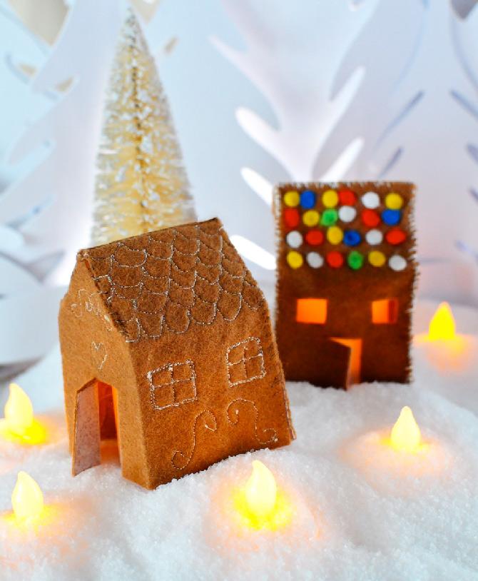felt gingerbread house candle holder