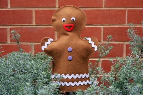handmade gingerbread man puppet
