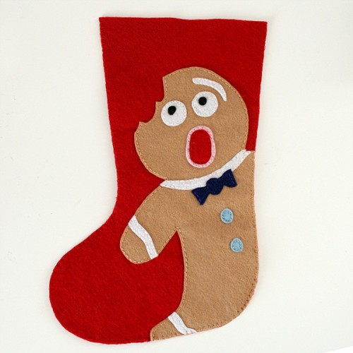 DIY gingerbread felt stocking