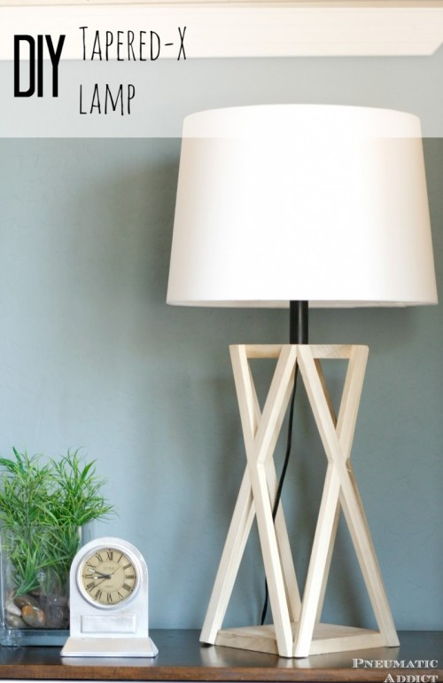 Architectural Wooden DIY Tapered X Lamp