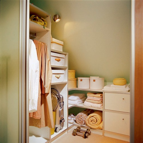 35 Images Of Wardrobe Designs For Bedrooms: Attic Bedroom With A Modest Yet Practical Wardrobe