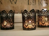 Gothic lace candleholders