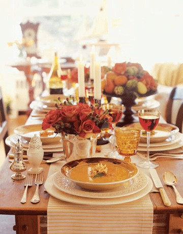 Add some amber hues to your festive table setting to make it more romantic.