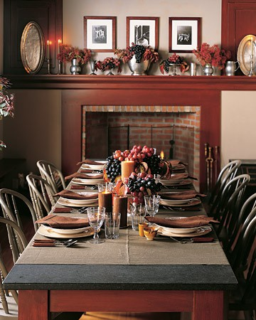 "Create a ""box of goodies"" with all of your favorite fall accents and put in the middle of the table."