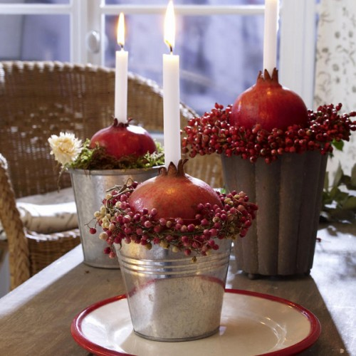 Pomegranate votives are easy to craft glowing and smelling centerpieces.
