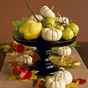 Cake stands are perfect things to make fall centerpieces. Simply put some pumpkins, pears or apples on them and you're good to go.