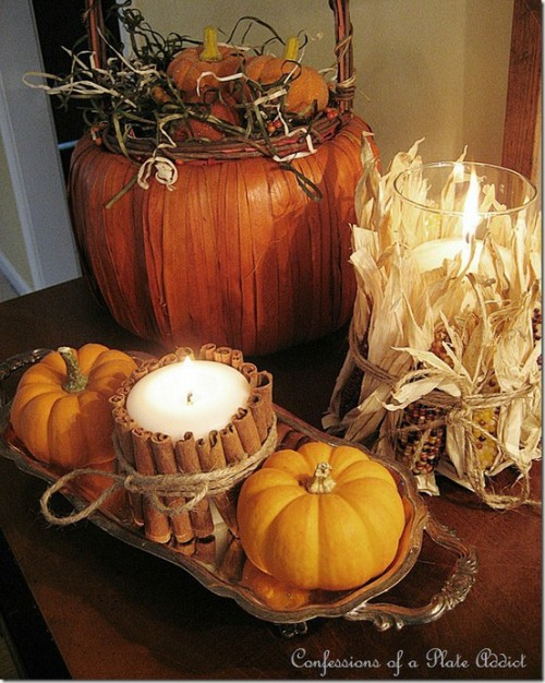 Wrap a candle in a bunch of cinnamon sticks and you got yourself a rustic piece of decor that would look great in any autumn's arrangement. Besides as a bonus it'd smell nice too.