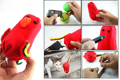 colorful cat toys (via wikihow)