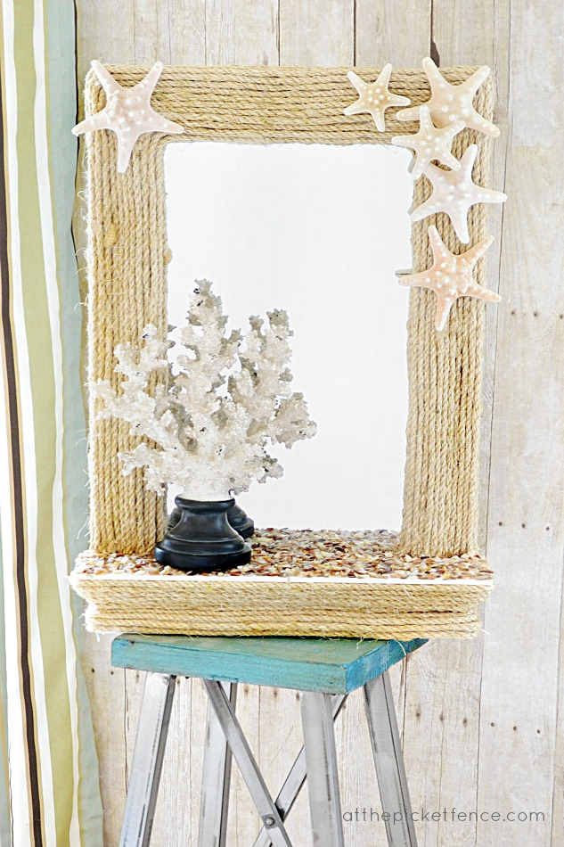 coastal rope mirror with starfish