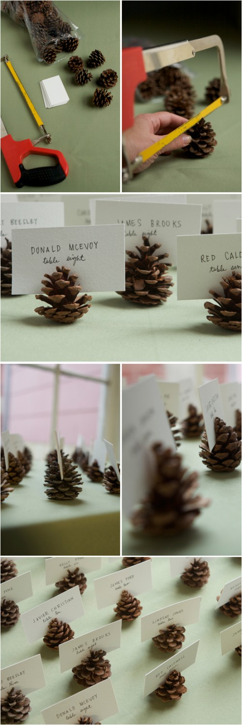 pinecone place card holder (via projectwedding)