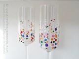 confetti cahmpagne glasses