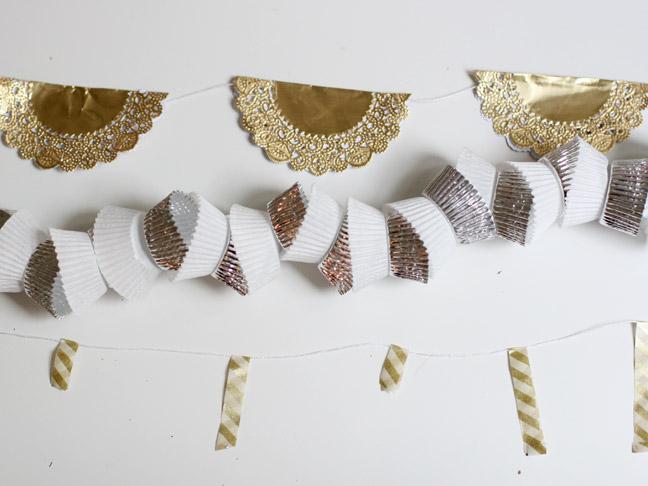 metallic New Year garlands