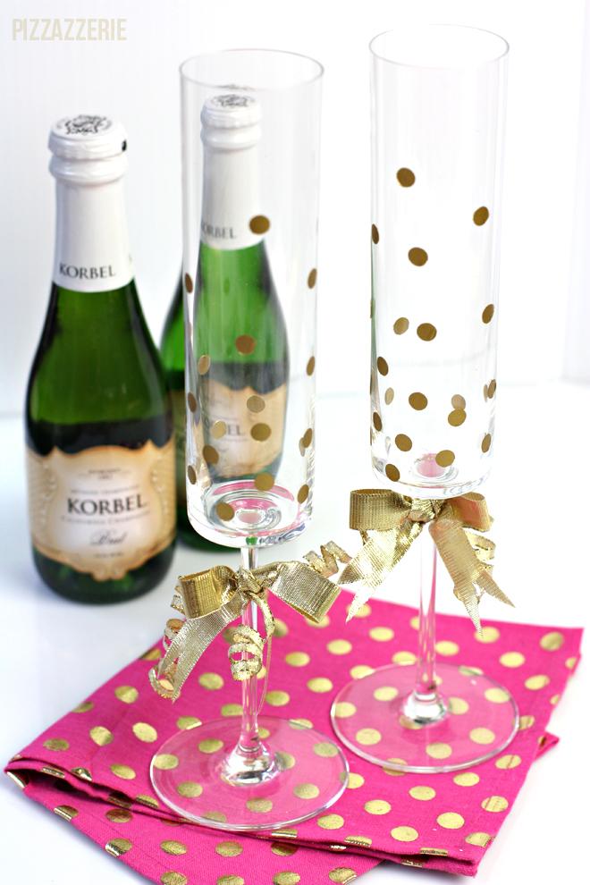confetti champagne flutes