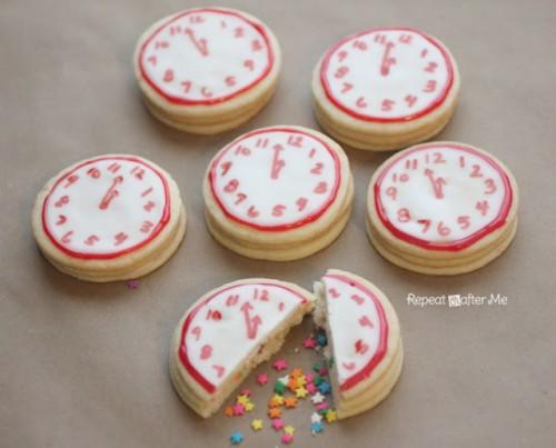 confetti clock cookies (via repeatcrafterme)
