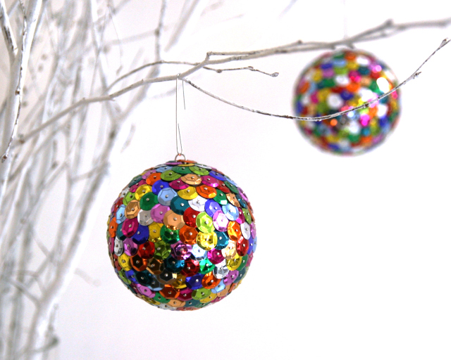 sparkly holiday ornaments