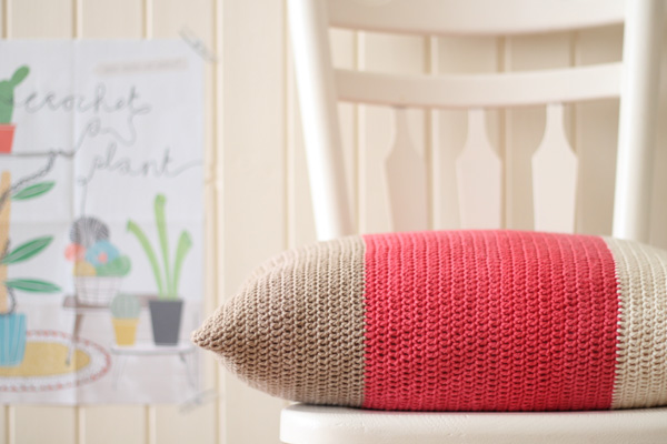 crocheted color block cushion
