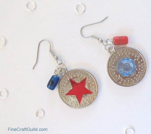 coin charms earrings (via finecraftguild)
