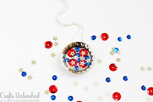 sequin bottle cap necklace (via craftsunleashed)