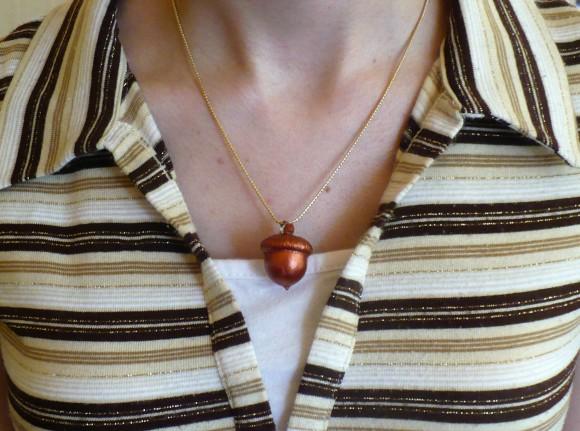 natural acorn necklace