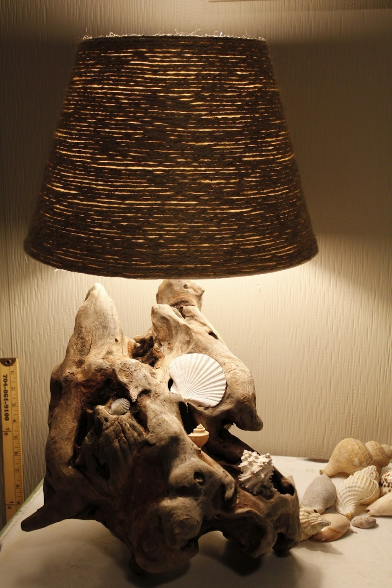 driftwood lamp with jute shade