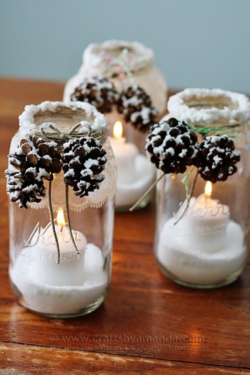 snowy pinecone candle jars (via shelterness)