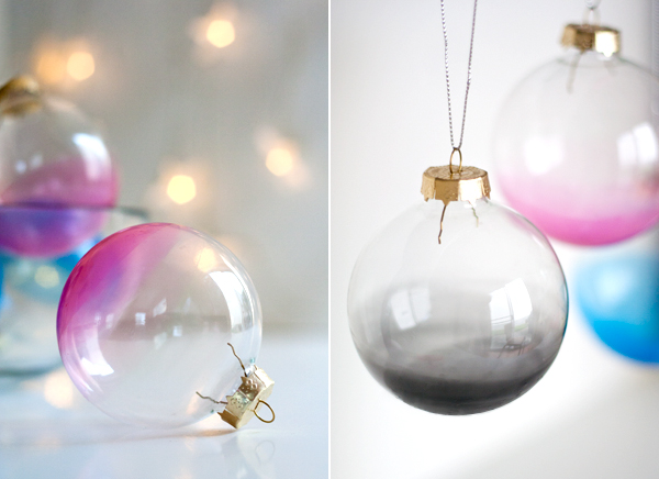 Ombre glass ornaments