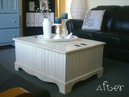 classic white coffee table makeover (via akadesign)