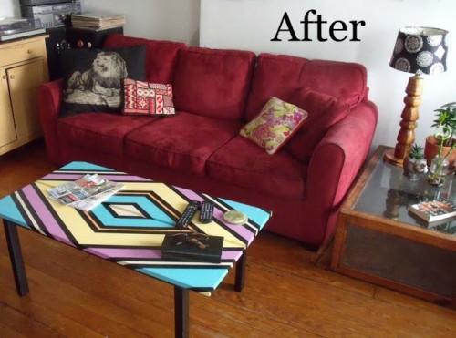 bright geometric coffee table